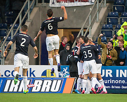 Falkirk's Conor McGrandles cele scoring their first goal.<br /> Falkirk 2 v 0 Dundee, Scottish Championship game at The Falkirk Stadium.<br /> &copy; Michael Schofield.