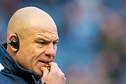 Edinburgh Rugby head coach, Richard Cockerill watches his players during the warm up before the 1872 Cup second leg Guinness Pro14 2019_20 match between Edinburgh Rugby and Glasgow Warriors at BT Murrayfield Stadium, Edinburgh, Scotland on 28 December 2019.