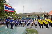 Adang scholl at the Chao Leh village. Morning flag raising ceremony.
