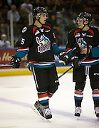 KELOWNA, CANADA - SEPTEMBER 24: Cal Foote #25 of the Kelowna Rockets talks to team mate on September 24, 2016 at Prospera Place in Kelowna, British Columbia, Canada.  (Photo By Cindy Rogers/Nyasa Photography,  *** Local Caption ***