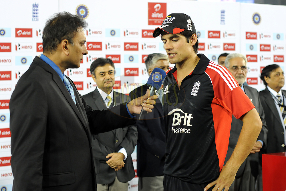 Alistar Cook during the presentation after the 3rd One Day International ( ODI ) match between India and England held at  the PCA Stadium, Mohali on the 20th October 2011..Photo by Pal Pillai/BCCI/SPORTZPICS