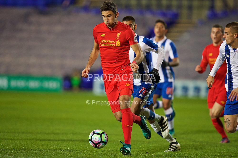 BIRKENHEAD, ENGLAND - Wednesday, November 2, 2016: Liverpool's Marko Grujic in action against FC Porto during the Premier League International Cup match at Prenton Park. (Pic by David Rawcliffe/Propaganda)