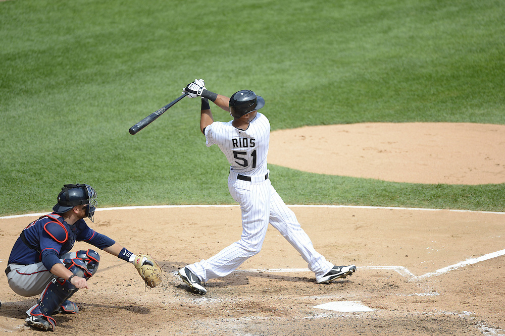 CHICAGO - SEPTEMBER 05:  Alex Rios #51 of the Chicago White Sox bats against the Minnesota Twins on September 05, 2012 at U.S. Cellular Field in Chicago, Illinois.  The White Sox defeated the Twins 6-2.  (Photo by Ron Vesely)  Subject:    Alex Rios