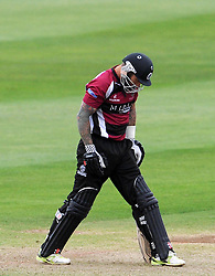 Dejection for Somerset's Peter Trego after being dismissed. Photo mandatory by-line: Harry Trump/JMP - Mobile: 07966 386802 - 22/05/15 - SPORT - CRICKET - Natwest T20 Blast - Somerset v Sussex Sharks - The County Ground, Taunton, England.