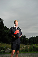 Ralf Hennig, personal trainer,.with his Performance Ball. in Rockefeller Preserve State Park..