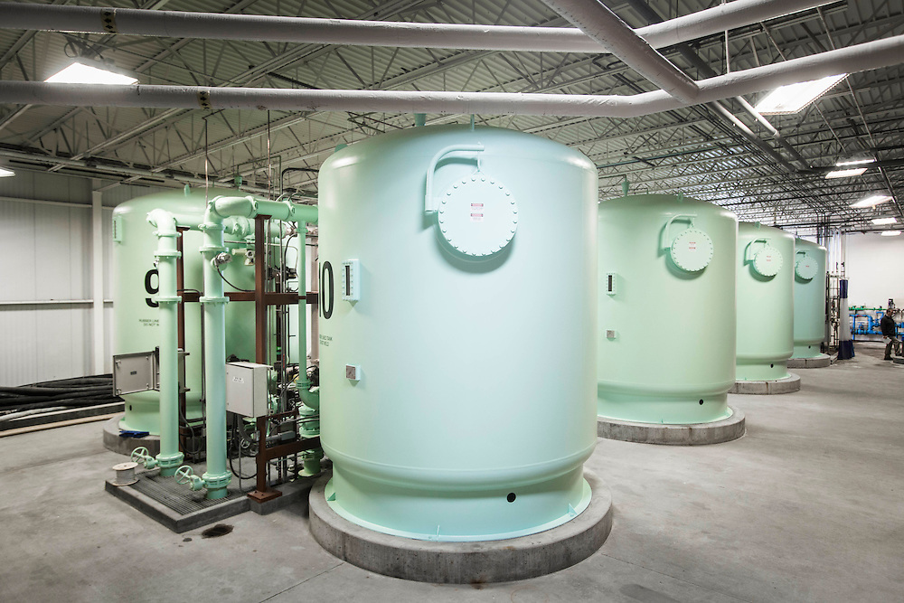 The tanks that the Des Moines Water Works uses to filter excessive nitrates from drinking water in Des Moines, Iowa, on April 13, 2015. Photo by Ryan Donnell.