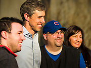 """06 APRIL 2019 - DES MOINES, IOWA:  BETO O'ROURKE poses for pictures with supports after a campaign event in Des Moines. O'Rourke held a series of """"house parties"""" in Des Moines Saturday as a part of his 2020 campaign to be the Democratic nominee for the US Presidential election. He is crisscrossing Iowa through the weekend with stops throughout the state. Iowa holds its caucuses, considered the kickoff of the US Presidential campaign, on Feb. 3, 2020.   PHOTO BY JACK KURTZ"""