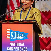 "Citizen University National Conference 2017 ""Reckoning and Repair in America"". Seattle's Civic Poet Caludia Castro Luna.  Photo by Alabastro Photography."