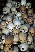 Siem Reap, Cambodia. A pile of human skulls marking one of the Killing Fields memorials.