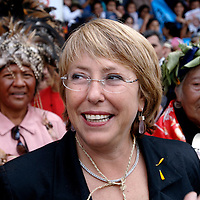 Temuco ,Chile 06 January 2006<br /> The socialist candidate to the presidency of Chile, Michelle Bachelet, signed an agreement  with the indigenous groups of the nation and she was committed to obtain the constitutional recognition of the diverse ethnic groups.<br /> Photo: Ezequiel Scagnetti