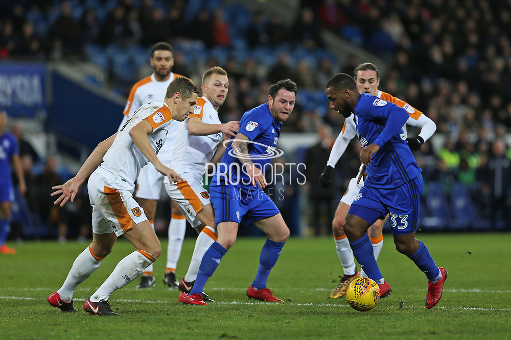 Cardiff City  Junior Hoilett (33) breaks through the Hull defence during the EFL Sky Bet Championship match between Cardiff City and Hull City at the Cardiff City Stadium, Cardiff, Wales on 16 December 2017. Photo by Gary Learmonth.