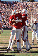 COLLEGE FOOTBALL: Stanford v Cal, Big Game, November 19, 1977 at Stanford Stadium in Palo Alto, California. Guy Benjamin #7; Pat Bowe #85.  Photograph by David Madison (www.davidmadison.com)