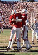 COLLEGE FOOTBALL: Stanford v Cal, Big Game, November 19, 1977 at Stanford Stadium in Palo Alto, California. Guy Benjamin #7; Pat Bowe #85.  Photograph by David Madison (www.davidmadison.com)