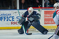 KELOWNA, CANADA - JANUARY 5: Liam Hughes #30 of the Seattle Thunderbirds defends the net against the Kelowna Rockets on January 5, 2017 at Prospera Place in Kelowna, British Columbia, Canada.  (Photo by Marissa Baecker/Shoot the Breeze)  *** Local Caption ***