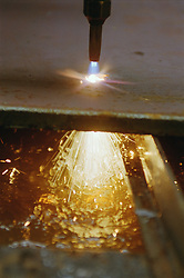 Flame cutting at engineering works,