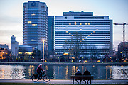 """Germany banned gatherings of more than 2 people called """"social distancing"""" because of the coronavirus. A heart at the Intecontinental hotel in Frankfurt am Main, made by the room lights of the hotel."""