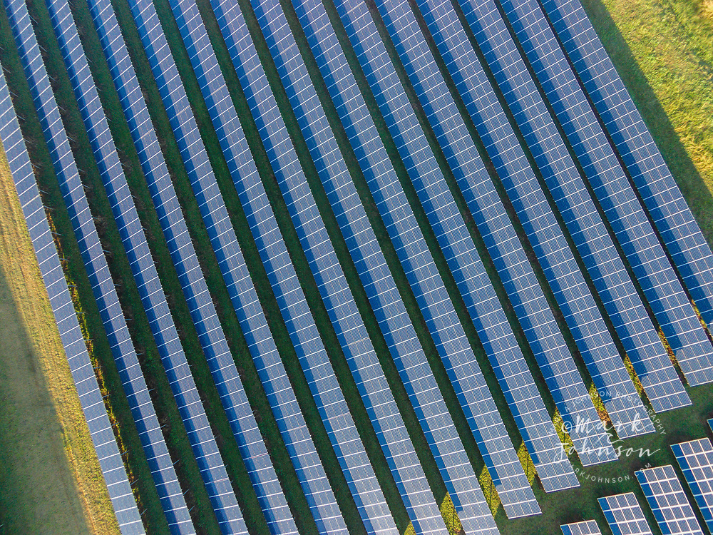 Aerial photograph of solar panels in the KRS1 Anahola Solar Farm, Anahola, Kauai, Hawaii