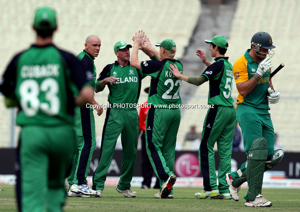 Ireland players celebrates after South African captain Graeme Smith run out during the ICC Cricket World Cup - 34th Match, Group B South Africa vs Ireland Played at Eden Gardens, Kolkata, 15 March 2011 - day/night