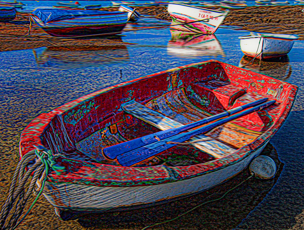 Art image of boats at low tide in Cadiz
