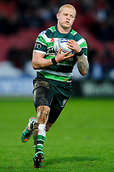 London Irish Full Back (#15) Tom Homer takes a high ball during the first half of the match - Photo mandatory by-line: Rogan Thomson/JMP - Tel: Mobile: 07966 386802 15/12/2012 - SPORT - RUGBY - Kingsholm Stadium - Gloucester. Gloucester Rugby v London Irish - Amlin Challenge Cup Round 4.