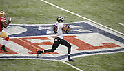 Baltimore Ravens' Jacoby Jones (12) takes off on a 108 yard kick return run for a touchdown over the San Francisco 49ers during the third quarter of Super Bowl XLVII at the Mercedes-Benz Superdome on February 3, 2013 in New Orleans.  UPI/David Tulis
