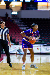 NORMAL, IL - January 05: Kristyne Esparza observes the action as Lola Bracy handles the ball during a college women's basketball game between the ISU Redbirds and the Purple Aces of University of Evansville January 05 2020 at Redbird Arena in Normal, IL. (Photo by Alan Look)