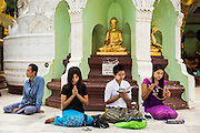 15 JUNE 2013 - YANGON, MYANMAR: People pray at Shwedagon Pagoda. Shwedagon Pagoda is officially known as Shwedagon Zedi Daw and is also called the Great Dagon Pagoda or the Golden Pagoda. It is a 99 meter (325 ft) tall pagoda and stupa located in Yangon, Burma. The pagoda lies to the west of on Singuttara Hill, and dominates the skyline of the city. It is the most sacred Buddhist pagoda in Myanmar and contains relics of the past four Buddhas enshrined: the staff of Kakusandha, the water filter of Koṇāgamana, a piece of the robe of Kassapa and eight strands of hair from Gautama, the historical Buddha. Burmese believe the pagoda was established as early ca 540BC, but archaeological suggests it was built between the 6th and 10th centuries. The pagoda has been renovated numerous times through the centuries. Millions of Burmese and tens of thousands of tourists visit the pagoda every year, which is the most visited site in Yangon. PHOTO BY JACK KURTZ