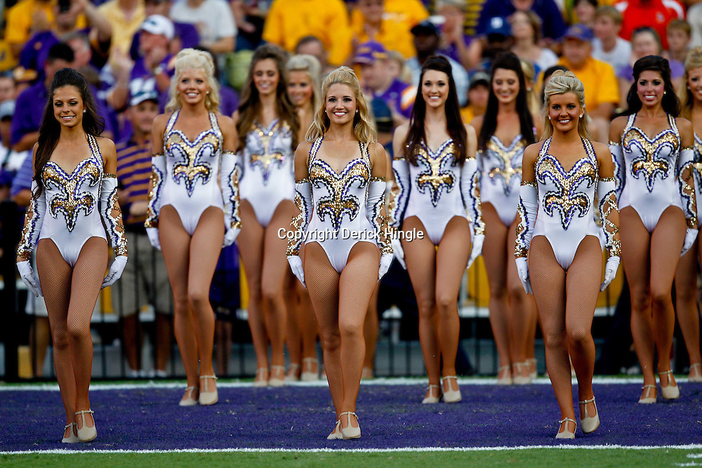 September 10, 2011; Baton Rouge, LA, USA;  The LSU Tigers Golden Girls dance team perfroms prior to kickoff of a game between the LSU Tigers and the Northwestern State Demons at Tiger Stadium.  Mandatory Credit: Derick E. Hingle
