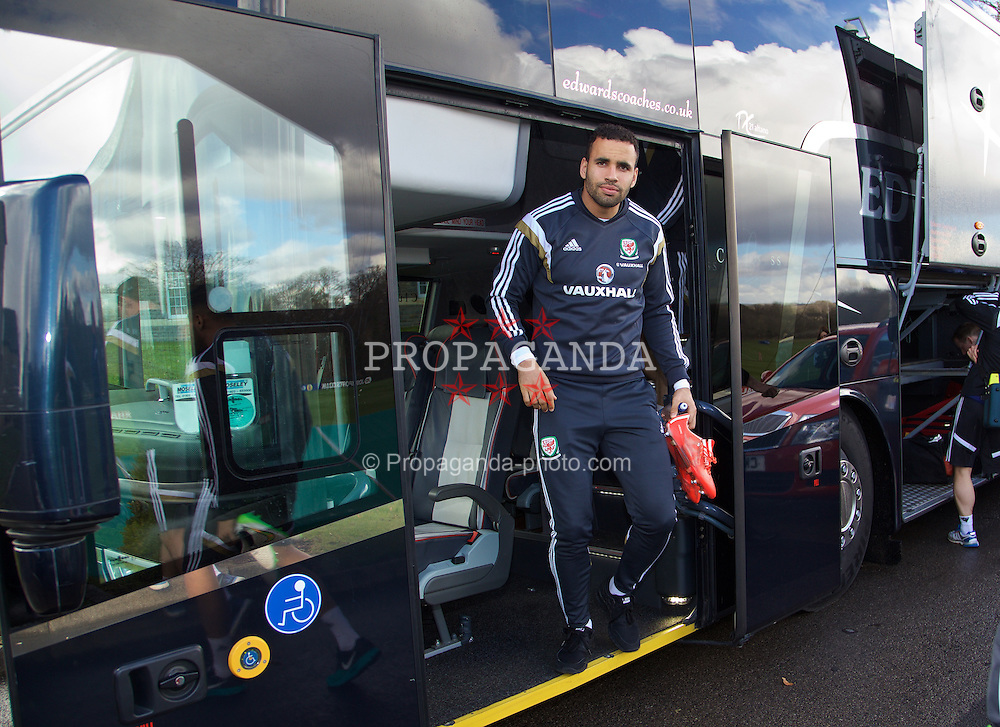 CARDIFF, WALES - Tuesday, March 24, 2015: Wales' Hal Robson-Kanu steps off the team coach before a training session at the Vale of Glamorgan ahead of the UEFA Euro 2016 qualifying Group B match against Israel. (Pic by David Rawcliffe/Propaganda)