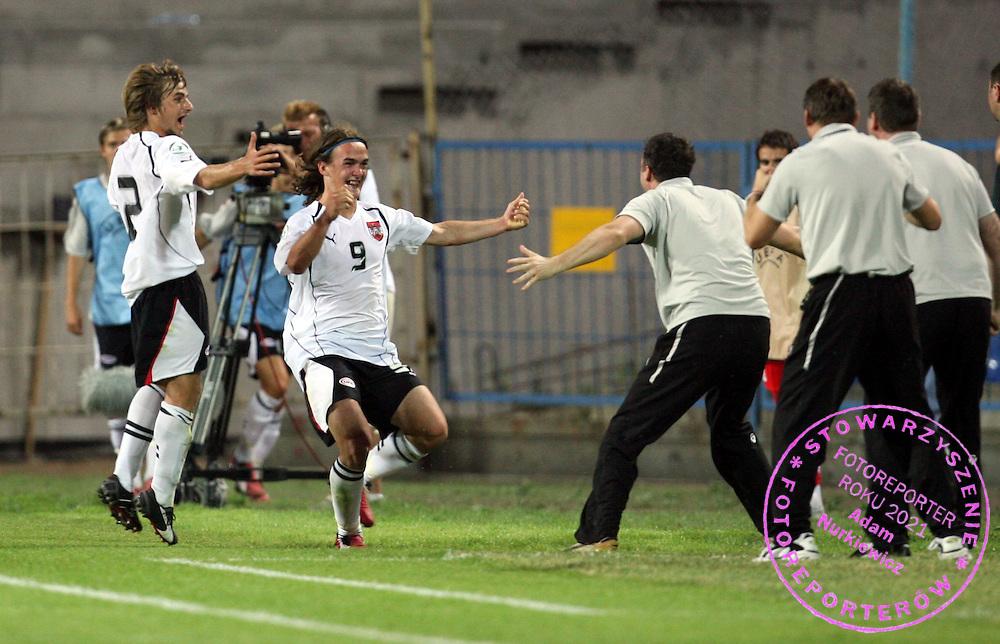 POZNAN 13/07/2006..UEFA EUROPEAN UNDER-19 CHAMPIONSHIP POLAND 2006..AUSTRIA _ POLAND..ERWIN HOFFER CELEBRATES HIS GOAL FOR AUSTRIA..FOT. PIOTR HAWALEJ / WROFOTO