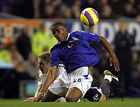 Photo: Paul Thomas.<br /> Everton v Tottenham Hotspur. The Barclays Premiership. 21/02/2007.<br /> <br /> Michael Dawson (L) fouls Everton's Victor Anichebe, this leads directly to Everton's goal.