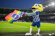 Brighton & Hove Albion FC Mascot Sally Seagull with her Rainbow Flag ahead of the Premier League match between Brighton and Hove Albion and Wolverhampton Wanderers at the American Express Community Stadium, Brighton and Hove, England on 8 December 2019.