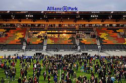 Fans flood the pitch after the match - Photo  mandatory by-line: Rogan Thomson/JMP - Tel: Mobile: 07966 386802 16/02/2013 - SPORT - RUGBY - Allianz Park - Barnet. Saracens v Exeter Chiefs - Aviva Premiership. This is the first Premiership match at Saracens new home ground, Allianz Park, and the first time Premiership Rugby has been played on an artificial turf pitch.