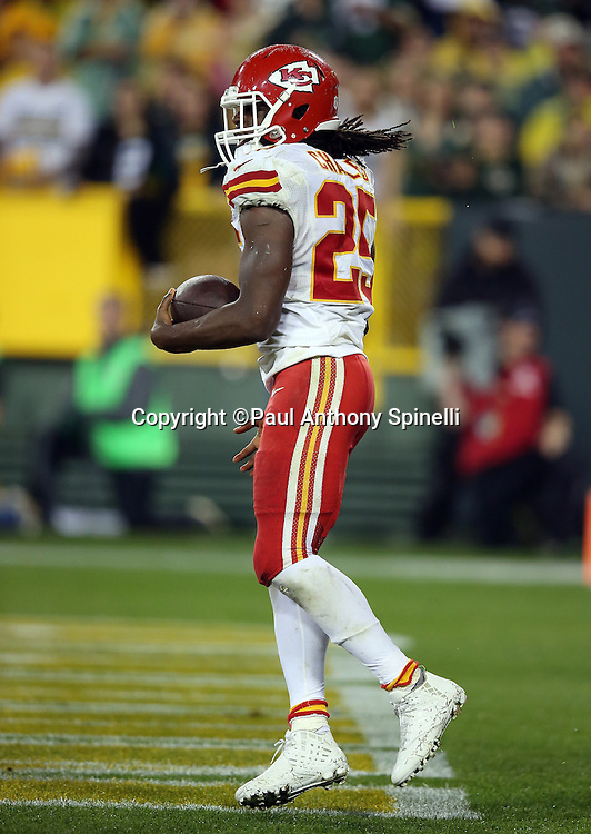 Kansas City Chiefs running back Jamaal Charles (25) jumps and celebrates after running for a 4 yard touchdown that cuts the Green Bay Packers fourth quarter lead to 38-22 after a successful two point conversion during the 2015 NFL week 3 regular season football game against the Green Bay Packers on Monday, Sept. 28, 2015 in Green Bay, Wis. The Packers won the game 38-28. (©Paul Anthony Spinelli)