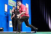 Mensur Suljovic celebrates reaching the quarter final with victory over Michael Smith during the 2016 Gibraltar Darts Trophy at the Victoria Stadium, Gibraltar on 8 May 2016. Photo by Shane Healey.