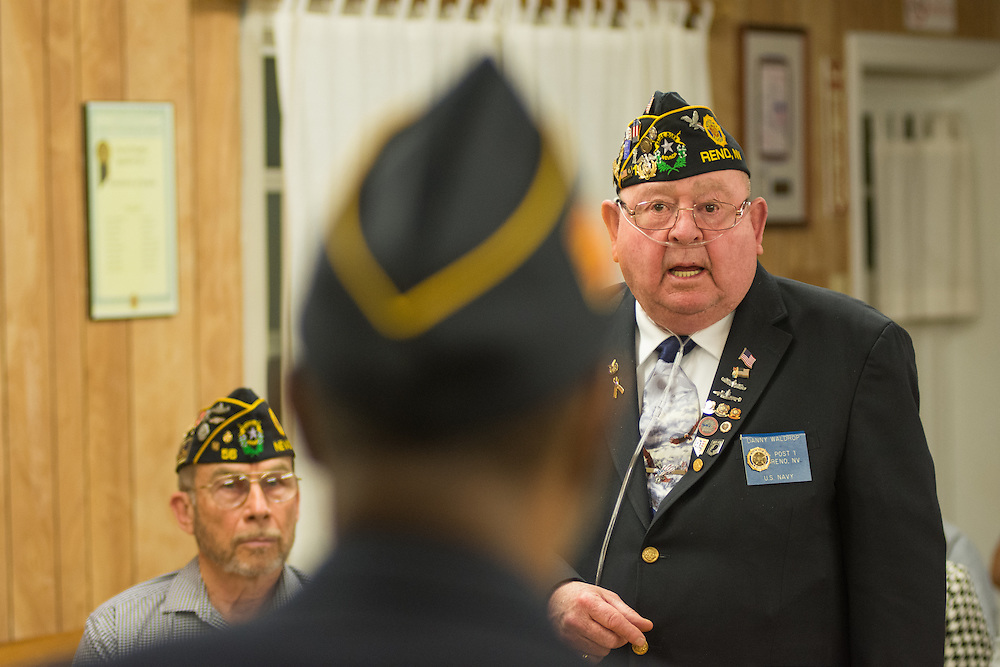District 1 chaplain Danny Waldrop speaks at American Legion Post 1 in Reno, Nev. during a System Worth Saving town hall on Tuesday, March 8, 2016. Photo by David Calvert /The American Legion.