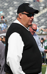 Oct 23, 2011; East Rutherford, NJ, USA; New York Jets head coach Rex Ryan before the game between the New York Jets and San Diego Chargers at the MetLife Stadium.