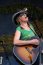 April 27 2007. New Orleans, Louisiana. <br /> The New Orleans Jazz and Heritage Festival. Lucinda Williams plays the Gentilly Stage.<br /> Photo credit; Charlie Varleyvarleypix.com