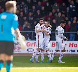 Inverness Caledonian Thistle's Ross Draper celebrates after scoring their goal. <br /> Dundee 1 v 1 Inverness Caledonian Thistle, SPFL Ladbrokes Premiership game played at Dens Park, 27/2/2016.
