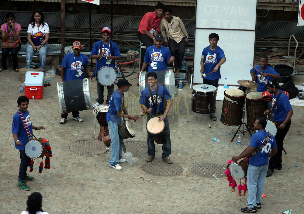 Band Boys Practicing for Mumbai Indians  during match 13 of the the Indian Premier League ( IPL ) Season 4 between the Mumbai Indians and the Kochi Tuskers Kerala held at the Wankhede Stadium, Mumbai, India on the 15th April 2011..Photo by Sandeep ShettyBCCI/SPORTZPICS.