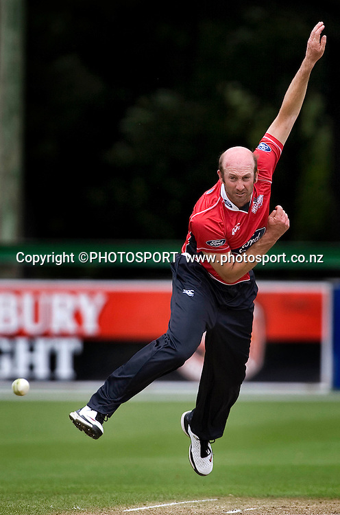 Canterbury Wizards player Chris Harris during his bowling spell. Men's 1-Day, Canterbury Wizards v Central Stags at Mainpower Oval, Rangiora, Tuesday 08 December 2009. Photo : Joseph Johnson/PHOTOSPORT