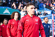 Lucas Torreira of Arsenal (11) walks out onto the pitch during the Premier League match between Huddersfield Town and Arsenal at the John Smiths Stadium, Huddersfield, England on 9 February 2019.