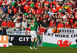 DUBLIN, REPUBLIC OF IRELAND - Saturday, March 24, 2007: Republic of Ireland's Stephen Ireland celebrates scoring the opening goal against Wales with his team-mate Robbie Keane during the UEFA European Championships 2008 Group D qualifying match at Croke Park. (Pic by David Rawcliffe/Propaganda)