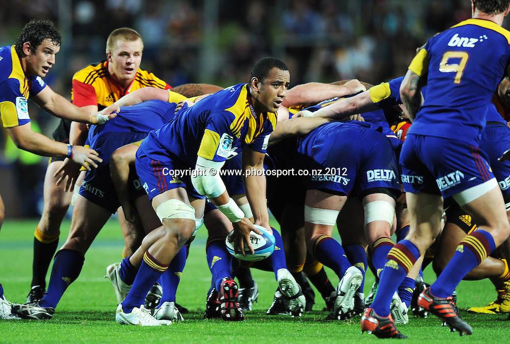 Nasi Manu during the 2012 Super Rugby season, Chiefs v Highlanders match at Waikato Stadium, New Zealand. Saturday 25 February 2012. Photo: Andrew Cornaga/Photosport.co.nz