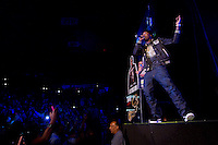 Meek Mill performs during the MMG Tour in Providence, Rhode Island at the Dunkin Donuts Center on November, 16, 2012.  Photo by Matthew Healey