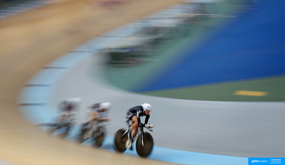 Rushlee Buchanan, Kaytee Boyd and Gemma Dudley, New Zealand, in action during the Women's 3000m Team Pursuit at the 2012 Oceania WHK Track Cycling Championships, Invercargill, New Zealand. 21st November  2011. Photo Tim Clayton...
