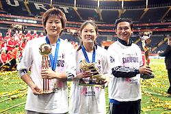 17.07.2011, Commerzbankarena, Frankfurt, GER, FIFA Women Worldcup 2011, Finale,  Japan (JPN) vs. USA (USA), im Bild:  ..von links:  Ayumi Kaihori (Japan), Homare Sawa (Japan) und Norio Saski (Coach Japan).. // during the FIFA Women Worldcup 2011, final, Japan vs USA on 2011/07/11, FIFA Frauen-WM-Stadion Frankfurt, Frankfurt, Germany.   EXPA Pictures © 2011, PhotoCredit: EXPA/ nph/  Mueller       ****** out of GER / CRO  / BEL ******