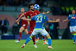 NAPLES, ITALY - Wednesday, October 3, 2018: Liverpool's Mohamed Salah (L) and Napoli's Raúl Albiol during the UEFA Champions League Group C match between S.S.C. Napoli and Liverpool FC at Stadio San Paolo. (Pic by David Rawcliffe/Propaganda)