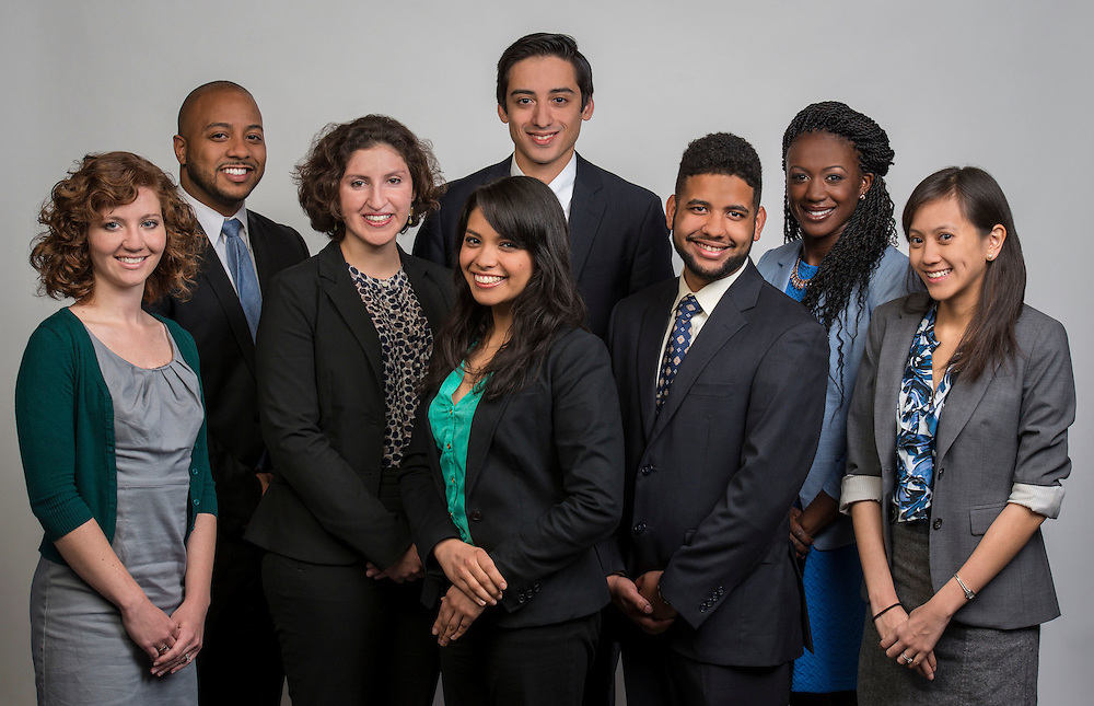 L-R: Sarah Cedeño, Danny Rojas, Sara Llansa, Jharrett Bryantt, Maryell Hernandez, Reggie Wiley, Lisle Bull and Luna Nguyen pose for a photograph, March 31, 2015.