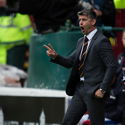 Steve Robinson, manager of Motherwell delivers instructions from the touchline, Motherwell v Rangers, Scottish Premiership, 6 August 2017 . (c) Adam Oliver | sportPix.org.uk